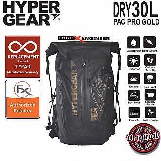 HyperGear Dry Pac Pro Gold 30L - 100% Waterproof & Heavy Duty Material - Black