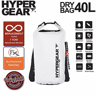HyperGear 40L Dry Bag - IPX6 Waterproof Specification - Pearl White