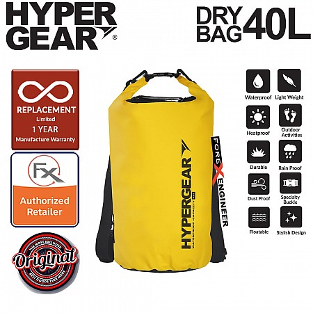 HyperGear 40L Dry Bag - IPX6 Waterproof Specification - Yellow