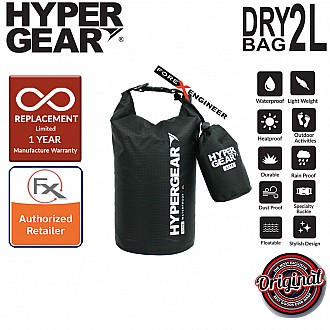 HyperGear Dry Bag Lite 2L - Waterproof IPX6 and Expandable to Full Size Dry Bag - Black