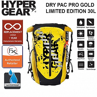 HyperGear Dry Pac Pro Gold 30L - 100% Waterproof, Heavy Duty and Durable Material Backpack - Yellow Limited Edition