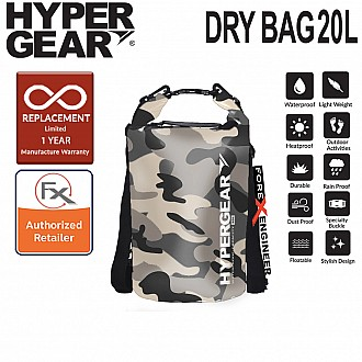HyperGear 20L Dry Bag - IPX6 Waterproof Specification - Camouflage Grey Alpha