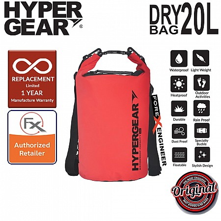 HyperGear Dry Bag 20L - IPX6 Waterproof Specification - Red