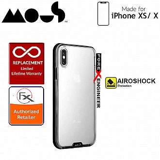 Mous Clarity Case for iPhone Xs / X - Air Shock High Impact Material - Clarity Black