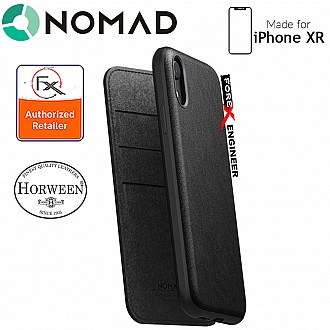 Nomad Rugged Folio Case-iPhone XR - Genuine Horween leather from the USA - Black