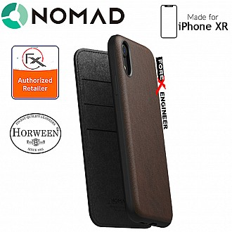 Nomad Rugged Folio Case-iPhone XR - Genuine Horween leather from the USA - Rustic Brown