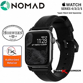 Nomad Traditional Leather Strap Apple Watch Series SE / 6 / 4 / 3 / 2 / 1 - 42mm / 44mm - Black Leather with Black Hardware