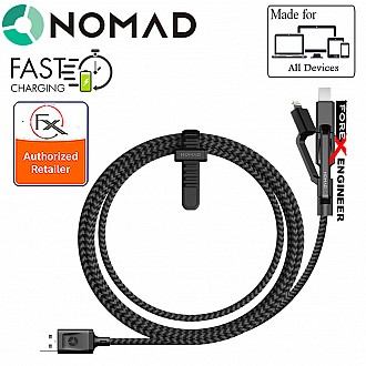 Nomad Universal Cable 1.5 meters with 3 in 1 Data Cable - Black (New barcode/Packagin 856504015473)
