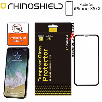 Rhinoshield Screen Protector for iPhone X / Xs / 11 pro - 9H 3D Curved Edge to Edge Tempered Glass - Clear