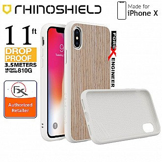 Rhinoshield SolidSuit for iPhone X - 3.5 meters Impact Protection - Light Walnut / White