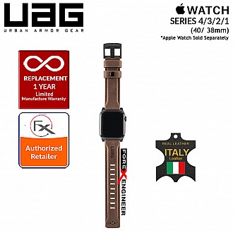 UAG Leather Strap for Apple Watch Series 4 / 3 / 2 / 1 - 40mm / 38mm - Made with Italian Leather - Brown