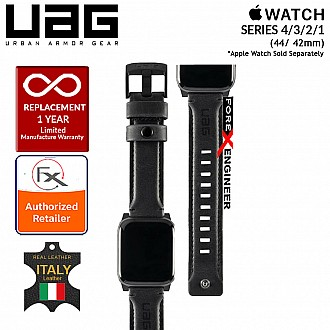 UAG Leather Strap for Apple Watch Series 4 / 3 / 2 / 1 - 44mm / 42mm - Made with Italian Leather - Black