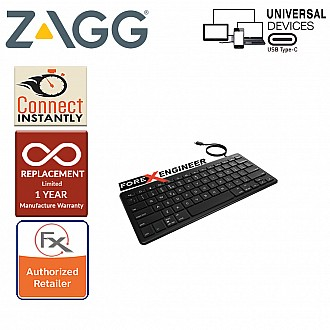 ZAGG Universal Keyboard USB-C Wired - Full Size Keyboard with USB C 1.5m Cable