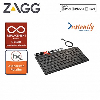 Zagg Lightning Wired Keyboard - 18 inch cable connects to any Apple device with Lightning port