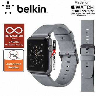 Belkin Classic Leather Band for Apple Watch Series 6 / SE /  5 / 4 / 3 / 2 / 1 ( 38mm / 40mm ) ( Gray ) ( Barcode : 745883723737 )