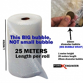 Bubble Wrap Packing Big Bubble 25M x 1M ( 25mm bubble size diameter ) ( Barcode : 575757 )