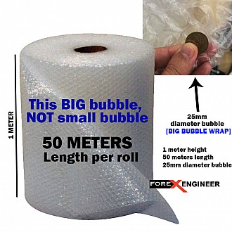 Bubble Wrap Packing Big Bubble 50M x 1M ( 25mm bubble size diameter ) ( Barcode :  BW14-SL100501 )