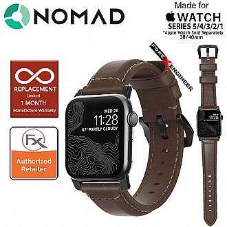 Nomad Traditional Leather Strap Apple Watch Series 5 / 4 / 3 / 2 / 1 - 40mm / 38mm ( Rustic Brown Leather with Black Hardware ) ( Barcode : 855848007359 )