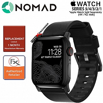 Nomad Active Strap Waterproof Black Leather for Apple Watch Series SE  / 6 / 5 / 4 / 3 / 2 / 1 ( 44mm / 42mm ) ( Black Hardware ) ( Barcode : 856500018300 )