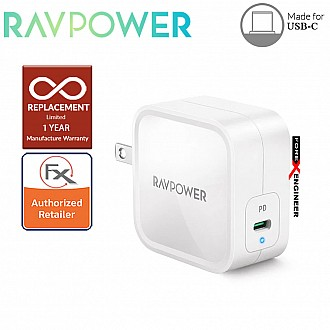RAVPower PD Pioneer 61W GaN Tech USB C Wall Charger - White Color ( Barcode : 191280012514 )