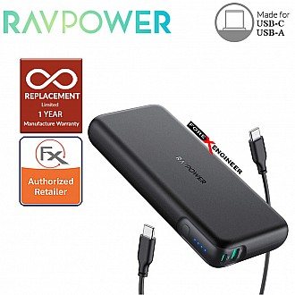 RAVPower Power Delivery 20000mAh 60W - Portable Charger 2-Port Power Bank - Black Color ( Barcode : 191280013184 )
