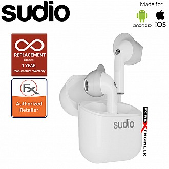 Sudio Nio Wireless Earbuds with  Environmental Noise-Canceling Microphones ( White ) ( Barcode : 7350071386354 )