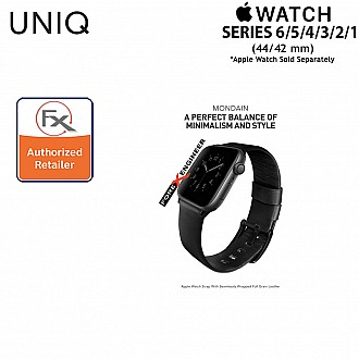 UNIQ Mondain Leather Strap for Apple Watch Series SE / 6 / 5 / 4 / 3 / 2 / 1  ( 44mm / 42mm ) - Premium Stainless Steel Buckle Matches Leather - Black ( Barcode : 8886463667736 )