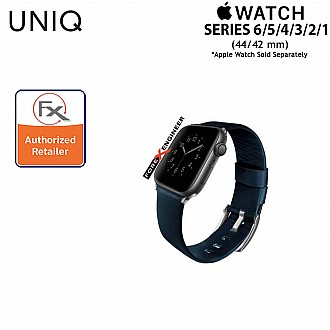 UNIQ Mondain Leather Strap for Apple Watch Series SE / 6 / 5 / 4 / 3 / 2 / 1  ( 44mm / 42mm ) - Premium Stainless Steel Buckle Matches Leather - Blue ( Barcode : 8886463667750 )