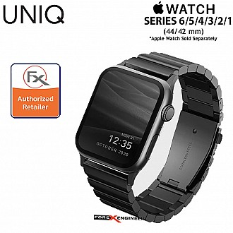 """UNIQ Strova Stainless Steel Watch Band for Apple Watch Series SE / 6 / 5 / 4 / 3 / 2 / 1 ( 44mm / 42mm ) - Premium 304 Stainless Steel - Black  ( Barcode : 8886463674246 )"""""""