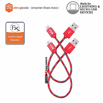 STM Elite Braided Lightning & Micro USB Cable 2pk (20 cm) - Red (Barcode: 617529784849)
