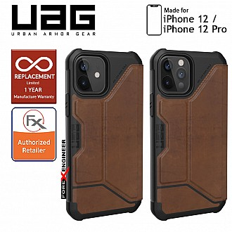 """UAG Metropolis for iPhone 12 / 12 Pro 5G 6.1"""" - Leather Brown (Barcode : 812451037012)"""